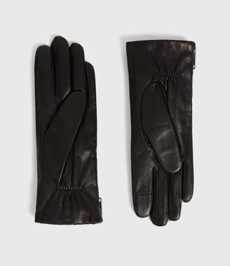 AllSaints Zipper Leather Touch Gloves