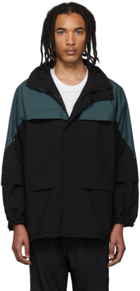 AFFIX Black and Green Border Parka Jacket