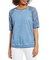 Peter Nygard Lace Sleeve Solid Top