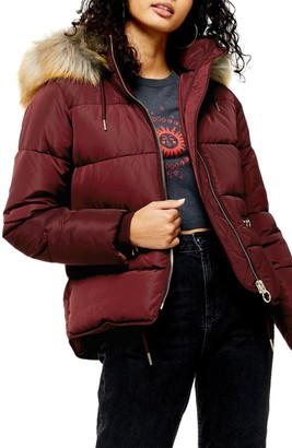Topshop Jack Faux Fur Trim Puffer Jacket