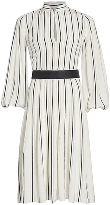 Akris Stripe Long-Sleeve Silk Puff-Sleeve Midi Shirtdress
