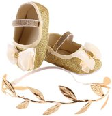Baby Girls Shoes,Doinshop Princess Bling Bowknot Anti-slip Sneaker +1pc Leaf Hairband