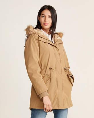 Levi's Faux Fur-Trimmed Long Fishtail Jacket
