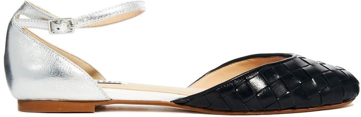 Dune Mollina Two Part Black Flat Shoes