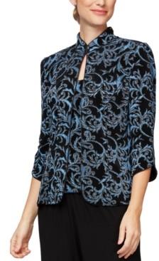 Alex Evenings Abstract-Print Mandarin Collar Jacket & Sleeveless Top