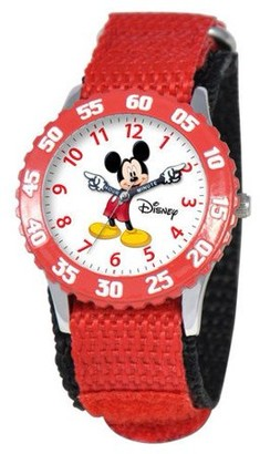 Disney Mickey Mouse Boys' Stainless Steel Time Teacher Watch, Red Bezel, Red Hook and Loop Nylon Strap with Black Backing