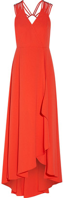Halston Asymmetric Embellished Crepe Gown