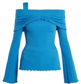 Ellery Limozeen Off-the-shoulder Ribbed Top - Womens - Blue