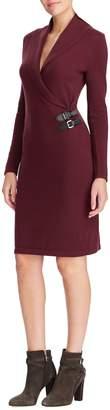 Chaps Buckle-Trimmed Cotton-Blend Wrap Dress