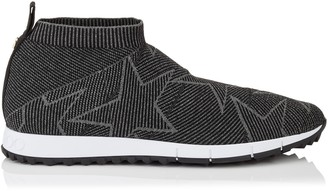Jimmy Choo NORWAY/M Black and Dust Grey Knit and Lurex Trainers