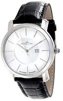 Lindberg & Sons Men's Quartz Watch Swiss Made Movement with White Dial Analogue Display and Black Leather Strap LSSM80