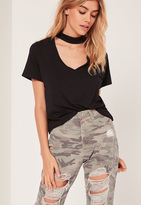 Missguided Petite Choker Neck T Shirt Black