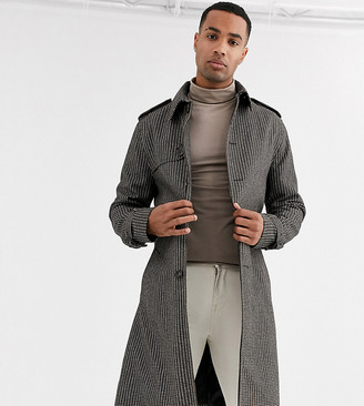 ASOS DESIGN Tall single breasted wool mix trench in check