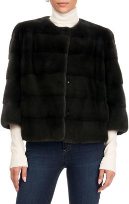 Gorski 3/4-Sleeve Fur Jacket