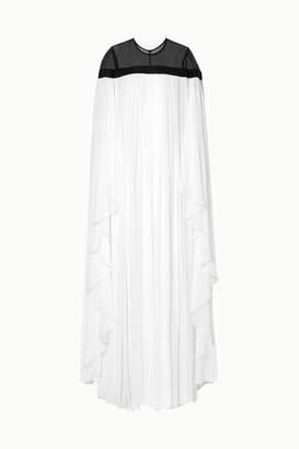 Carolina Herrera Ruffled Grosgrain-trimmed Silk-chiffon Gown - White