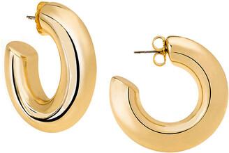 Janis Savitt Oprah's Favorite High Polish Medium Hoop Yellow Gold Plated Earrings