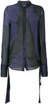 Ann Demeulemeester collarless sheer shirt