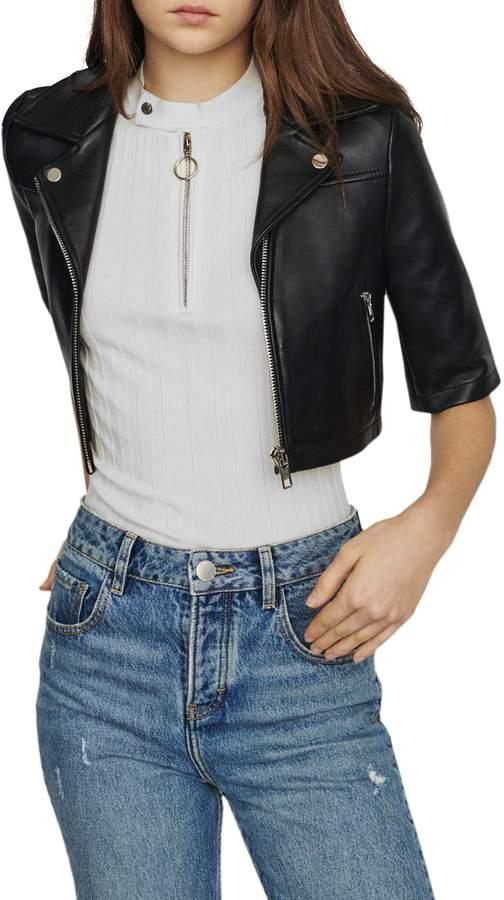 Maje Bartou Front-Zip Leather Jacket