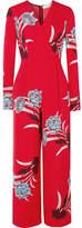 Diane von Furstenberg Wrap-effect Floral-print Crepe Jumpsuit