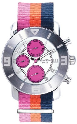 Ross Rino Chamaeleon Unisex Quartz Watch with Pink Dial Analogue Display and Pink Nylon Bracelet