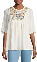 Tolani Heather Embroidered & Sequined Tunic, White, Plus Size