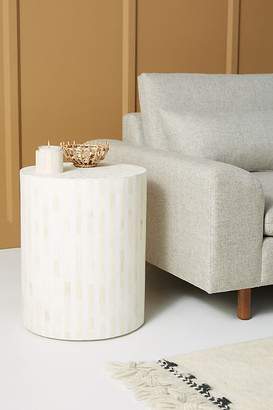 Anthropologie Rounded Inlay Drum Side Table By in White Size L