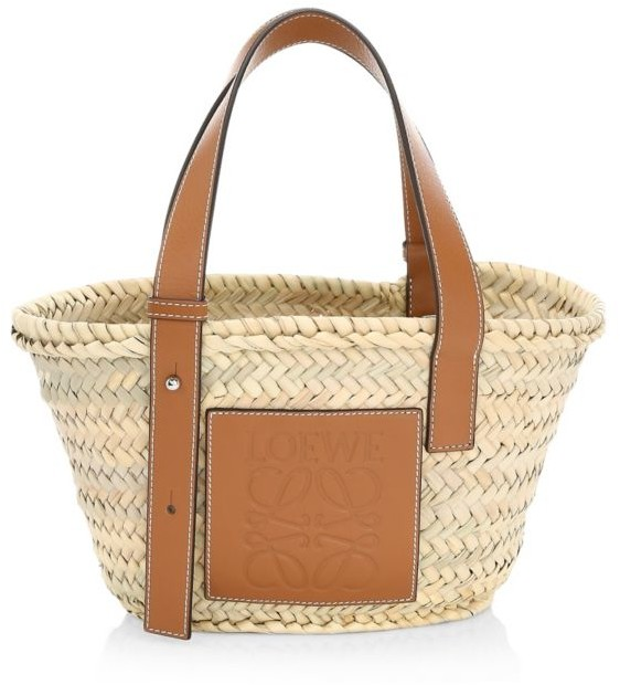 Style File | Mini Trend: Loewe's Leather-Trimmed Woven Raffia Tote