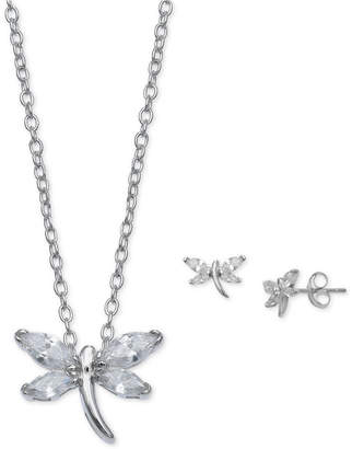 Giani Bernini 2-Pc. Set Cubic Zirconia Dragonfly Pendant Necklace & Matching Stud Earrings in Sterling Silver