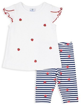 Florence Eiseman Baby's & Little Girl's 2-Piece Strawberry Ruffle Top & Leggings Set