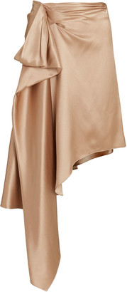 Cushnie Silk Draped Asymmetrical Midi Skirt