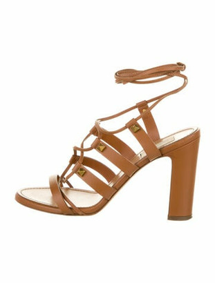 Valentino Rockstud Accents Leather Gladiator Sandals