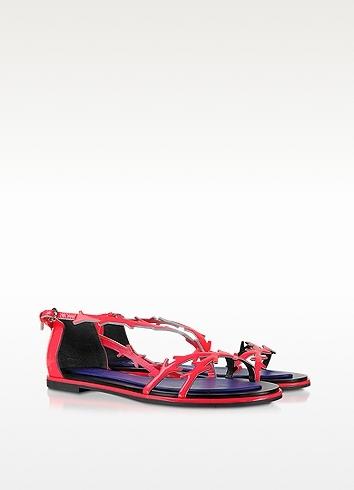 Kenzo Neon Pink Patent Leather Flat Sandal