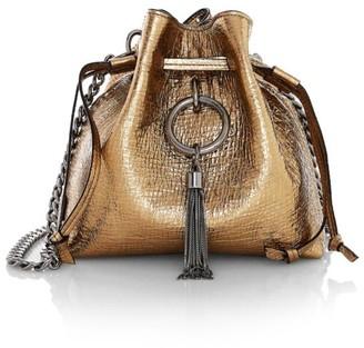 Jimmy Choo Callie Tassel Drawstring Soft Metallic Leather Hobo Bag