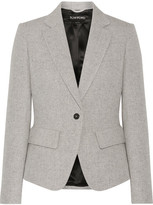 Tom Ford Leather-trimmed Wool And Mohair-blend Blazer - Gray