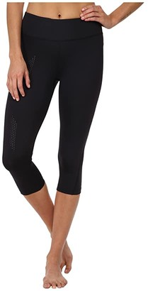 2XU Mid-Rise Compression 3/4 Tight (Black/Dotted Black Logo) Women's Workout