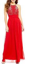 Xtraordinary High Neck Drape Beaded Bodice Long Dress