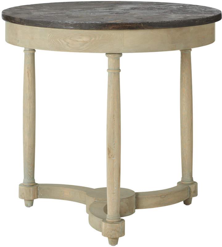 OKA Flavian Oak And Stone Side Table