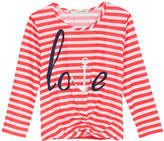 Self Esteem Love Striped Knot-Front Graphic T-Shirt, Big Girls