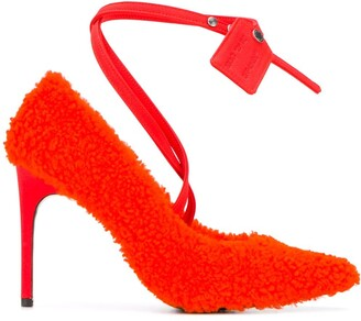 Off-White Textured Style Ankle Strap Pumps