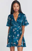 MUMU Evelyn Mini Wrap Dress ~ Pixie Dust Floral Sheen