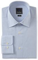 David Donahue Blue Stripe Trim Fit Dress Shirt