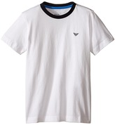Armani Junior Basic T-Shirt with Navy Logo (Big Kids)
