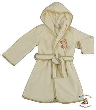 BEIGE BlueberryShop Embroidered Luxurious Hooded Bathrobe/Dressing Gown, 4-5 Years,