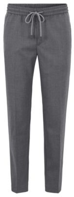 Slim-fit pants in stretch fabric with drawstring waist
