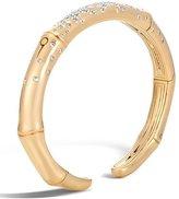 John Hardy Bamboo 7mm 18k Gold Diamond Kick Cuff Bracelet, Size M