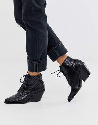 Glamorous black snake effect lace up western boots