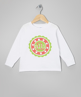 Swag White Polka Dot Circle Personalized Tee - Toddler & Girls