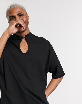 ASOS DESIGN festival oversized t-shirt with half sleeve and mandarin collar