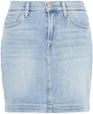 7 For All Mankind Blurred Denim Mini Skirt