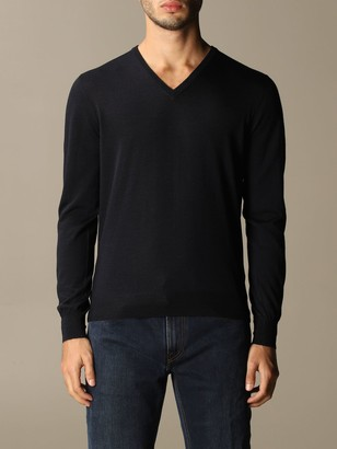 Gran Sasso V-neck Sweater In Wool And Silk